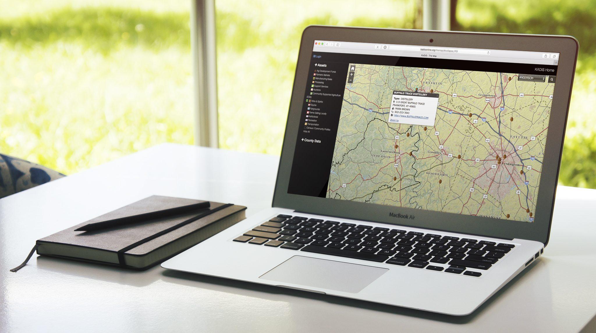 Laptop computer with KADIS map displayed